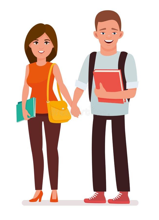 Atrakcyjna młoda para studenci collegu z książkami i szkolnymi torbami w białym tle Kreskówka wektoru charakter ilustracja wektor