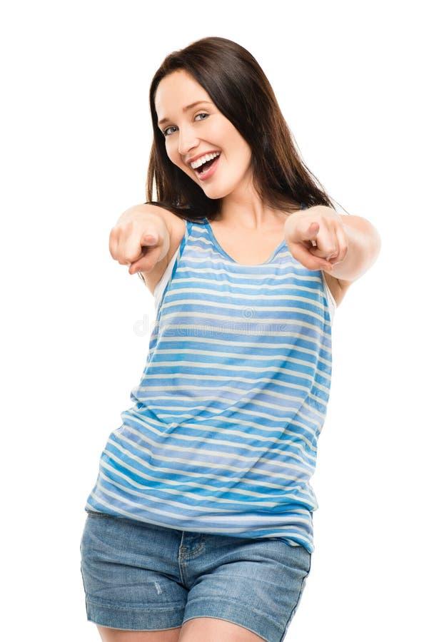 Atrakcyjna młodej kobiety odświętność wskazuje ono uśmiecha się odizolowywam dalej zdjęcie royalty free