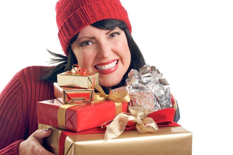 atrakcyjna prezentów chwytów kobieta zdjęcia royalty free