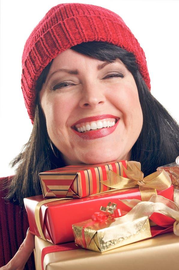 atrakcyjna prezentów chwytów kobieta obraz royalty free