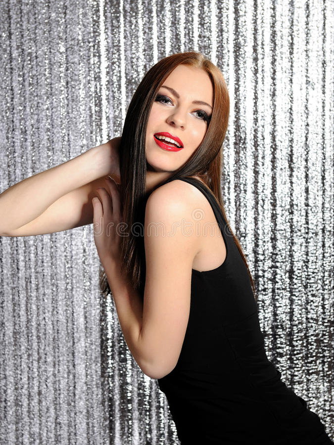 atrakcyjna target1438_0_ dancingowej dyskoteki seksowna kobieta obraz stock