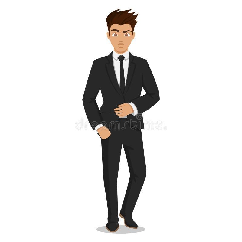 Atrakcyjni młodzi człowiecy w eleganckim biurze odziewają Młody biznesmen Śliczny kreskówka mężczyzna udanych młodych ludzi royalty ilustracja