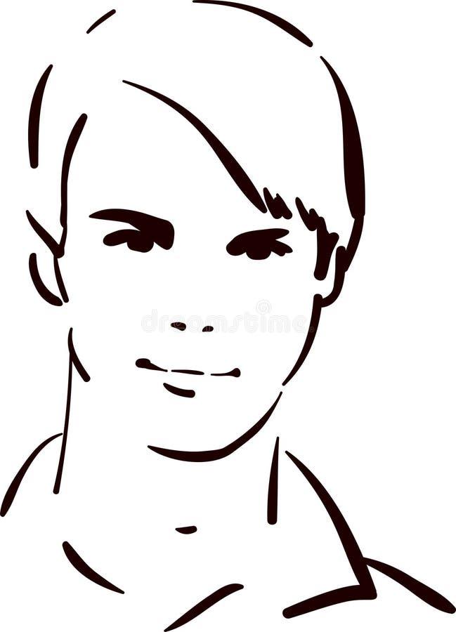 atrakcyjni twarzy mężczyzna potomstwa royalty ilustracja