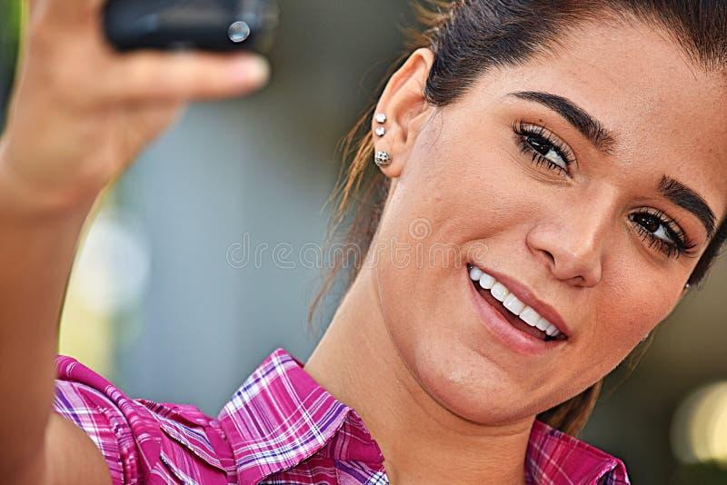 Atrakcyjny żeński selfie fotografia royalty free