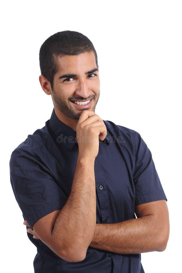 Atrakcyjny arabski zadumany mężczyzna główkowanie i patrzeć kamerę obraz royalty free
