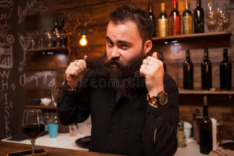 Atrakcyjny barman bawić się z jego długo brodę za kontuarem fotografia royalty free