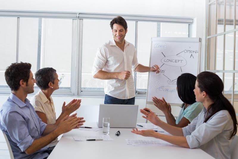 Atrakcyjny biznesmen daje prezentaci jego coworkers zdjęcia stock