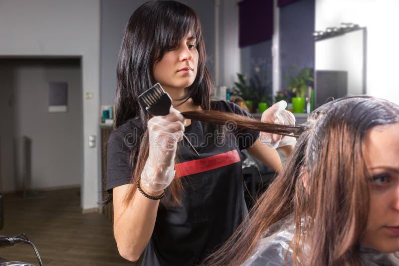 Atrakcyjny brunetka stylista podczas procesu barwiarstwo włosy ty obrazy stock