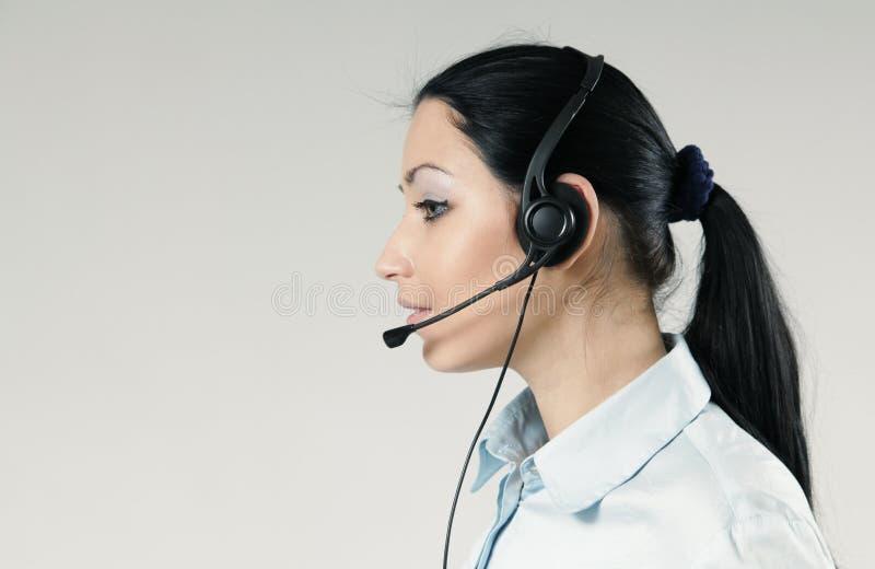 atrakcyjny centrum telefonicznego operatora portret obraz stock