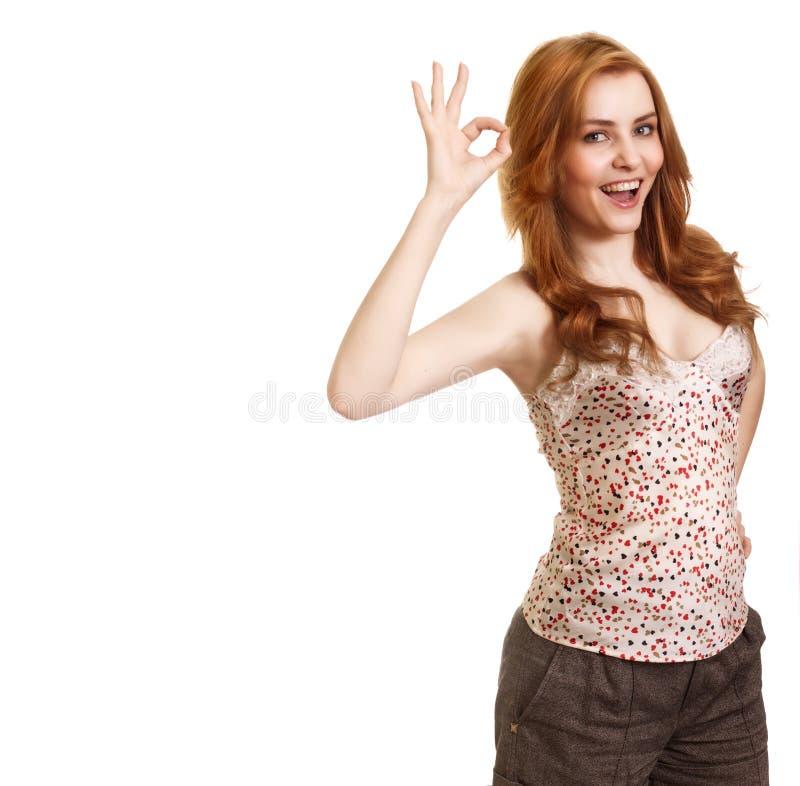 atrakcyjny dziewczyny ok portret pokazywać symbol obrazy royalty free