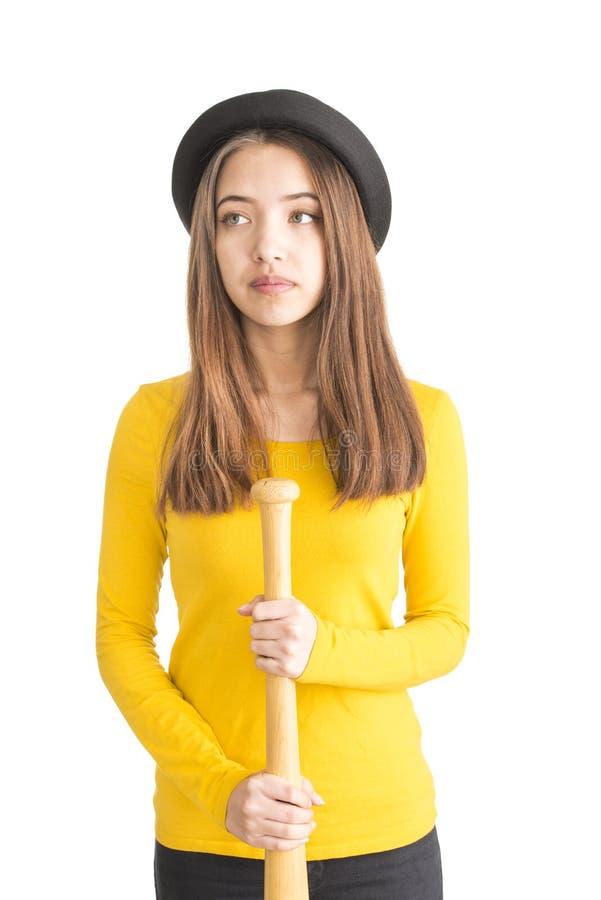 Download Atrakcyjny Młodej Kobiety Mienia Kij Bejsbolowy Obraz Stock - Obraz złożonej z atrakcyjny, piękno: 28950221