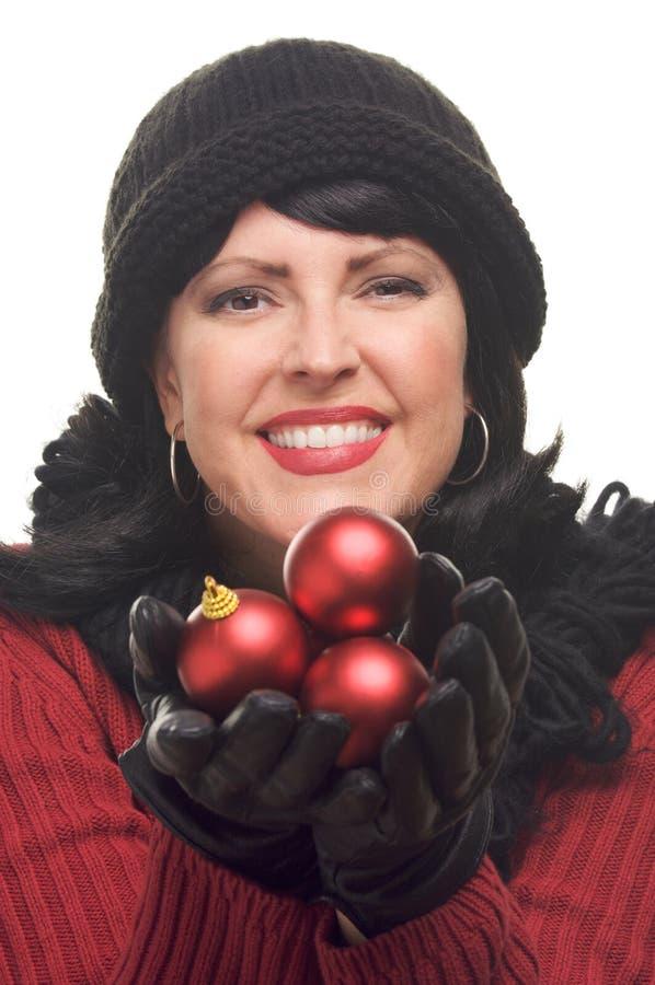 atrakcyjny mienie ornamentuje czerwonej kobiety fotografia stock