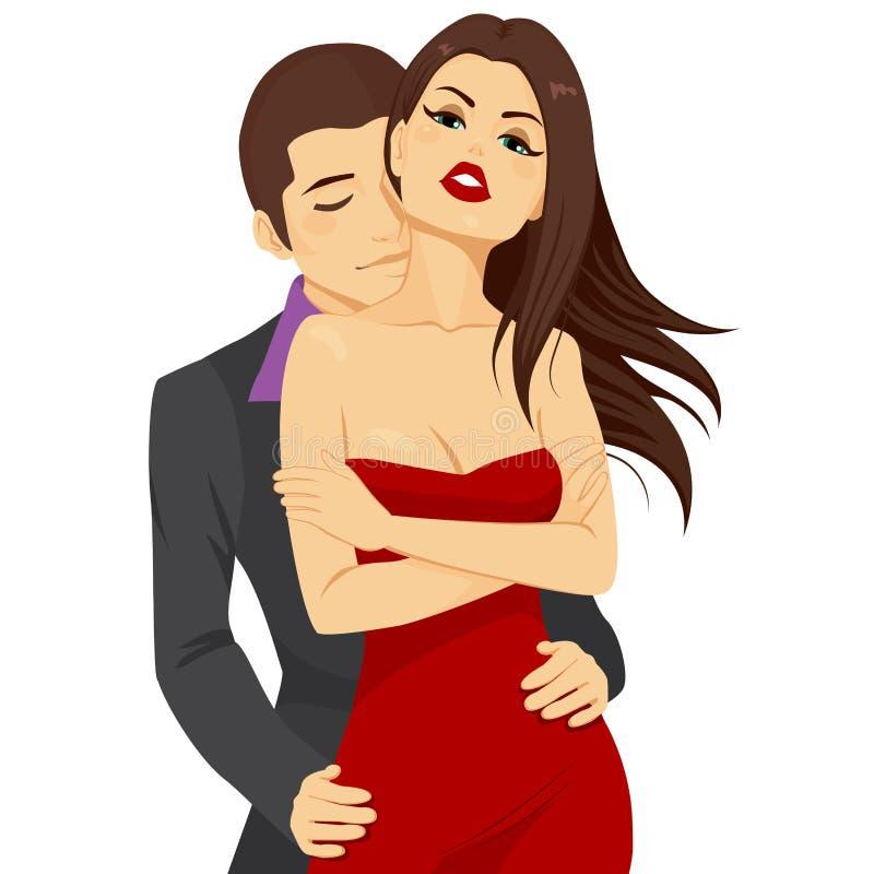 Atrakcyjny pary przytulenie ilustracja wektor