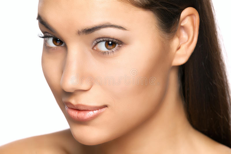 Atrakcyjny piękny kobieta portret na białym tle obraz stock