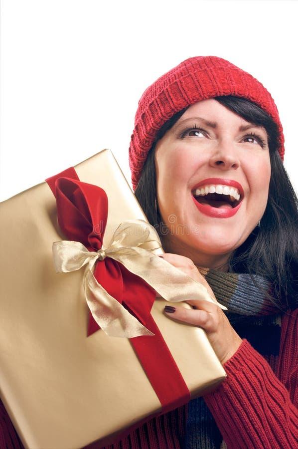 atrakcyjny prezent trzyma kobiety zdjęcia stock