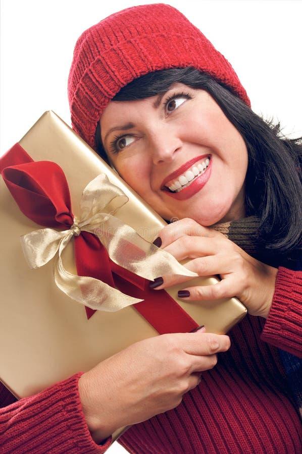 atrakcyjny prezent trzyma kobiety zdjęcie royalty free