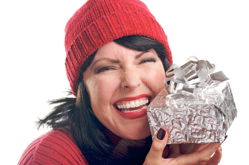 atrakcyjny prezent trzyma kobiety zdjęcia royalty free