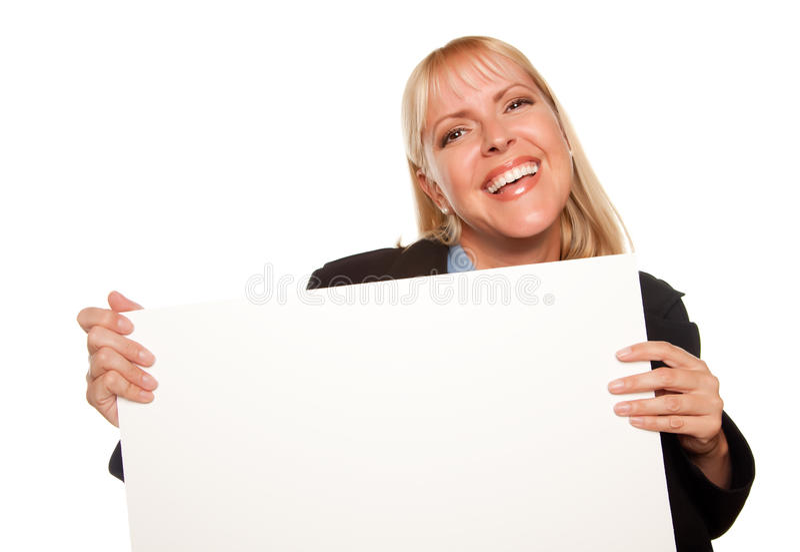 atrakcyjny pusty blondynki mienia kluczy znak zdjęcie stock