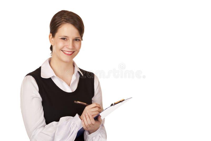 atrakcyjny schowek trzyma uśmiech kobiety młody fotografia royalty free