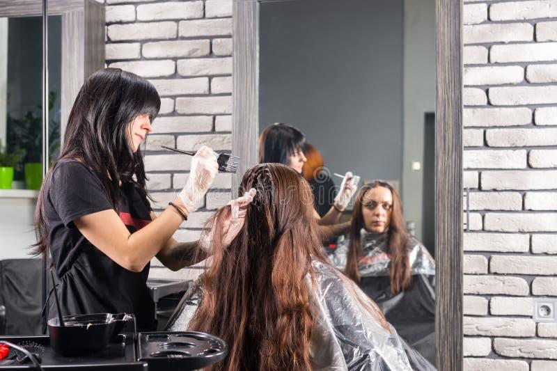 Atrakcyjny stylista podczas procesu barwiarstwo włosy kobieta clien obraz royalty free