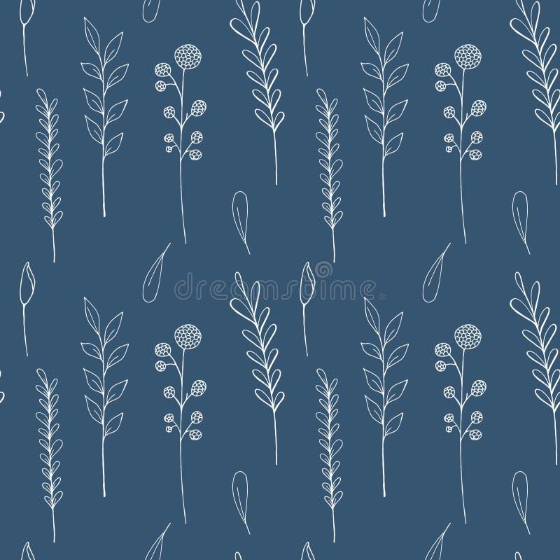 Atramentów wildflowers bezszwowy wzór Wręcza patroszonego maczka, łopian, banatka, trawa, dzika wzrastał, chamomile, chabrowy, bo ilustracji