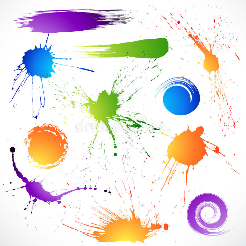 atramentów kolorowi splats ilustracja wektor