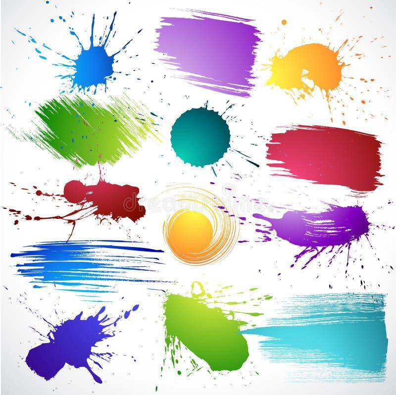 atramentów kolorowi splats ilustracji
