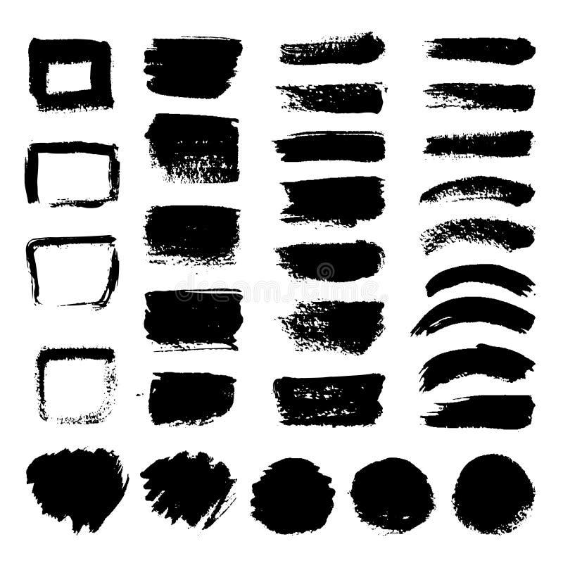 Atrament czarna sztuka szczotkuje wektoru set Brudny grunge malujący uderzenia ilustracja wektor
