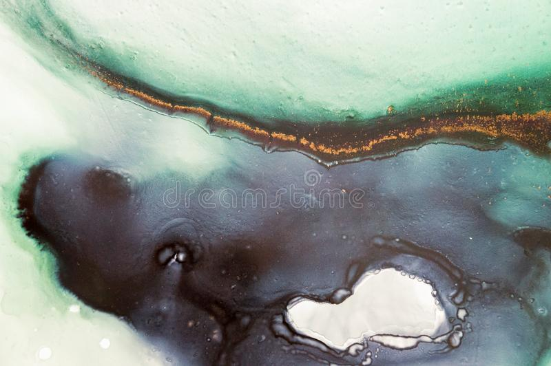 Atrament, farba, abstrakt Zbliżenie obraz Kolorowy abstrakcjonistyczny obrazu tło Textured nafciana farba Wysokiej jakości deta ilustracja wektor