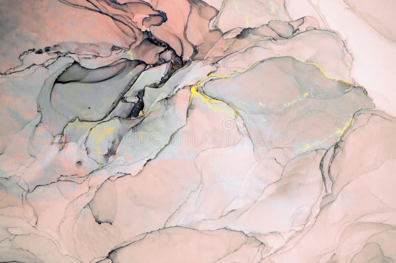 Atrament, farba, abstrakt Zbliżenie obraz Kolorowy abstrakcjonistyczny obrazu tło Textured nafciana farba Wysokiej jakości deta fotografia royalty free