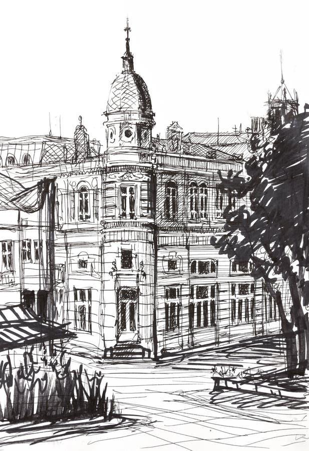 Atrament grafika Stary budynek w Bułgaria ilustracja wektor