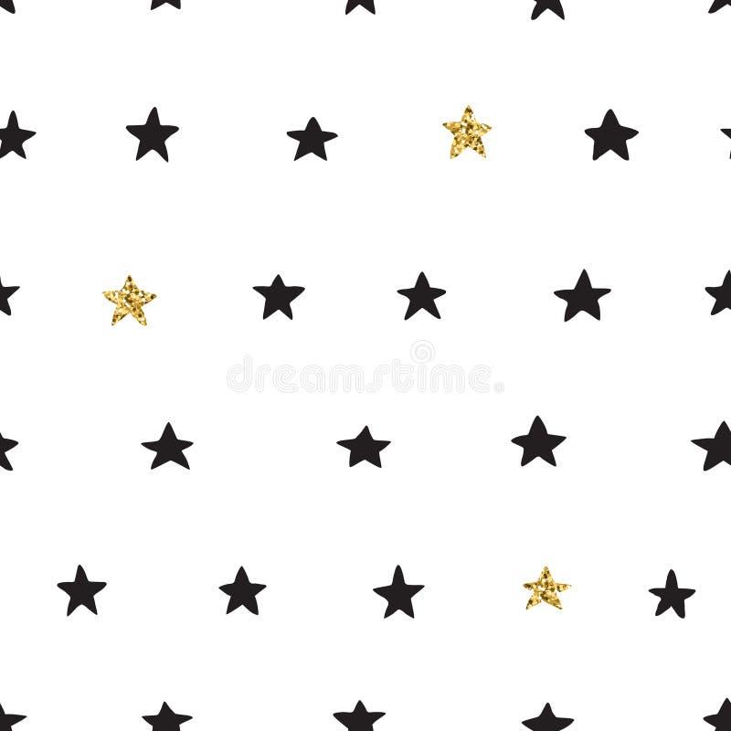 Atrament i złocista ręka rysujący doodle wektorowego bezszwowego gwiazdowego wzór ilustracji