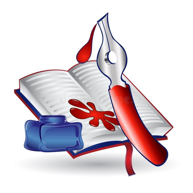 Atrament książki pióra ikona ilustracji