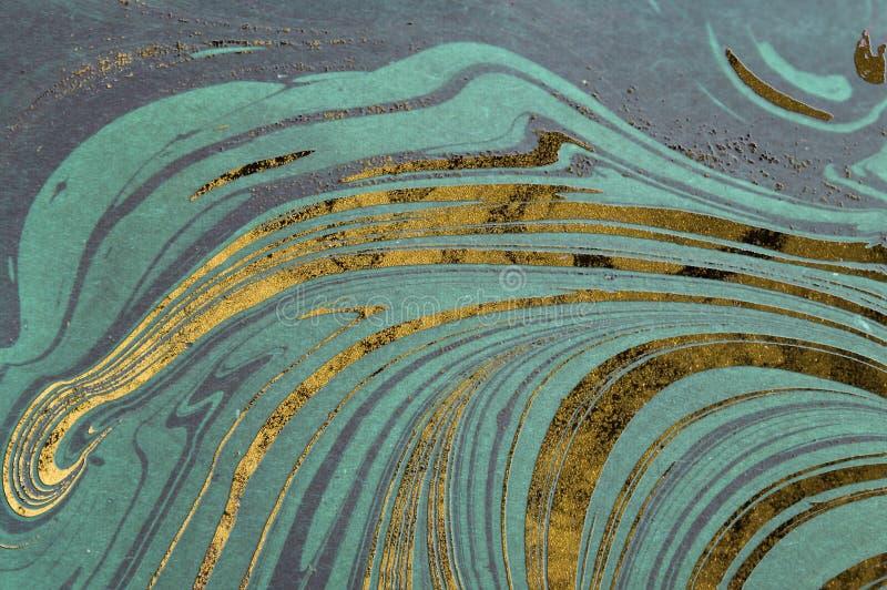 Atrament marmurowa tekstura Ebru handmade falowy tło Kraft papieru powierzchnia Unikalna sztuki ilustracja Ciekła marmoryzaci tek zdjęcie stock