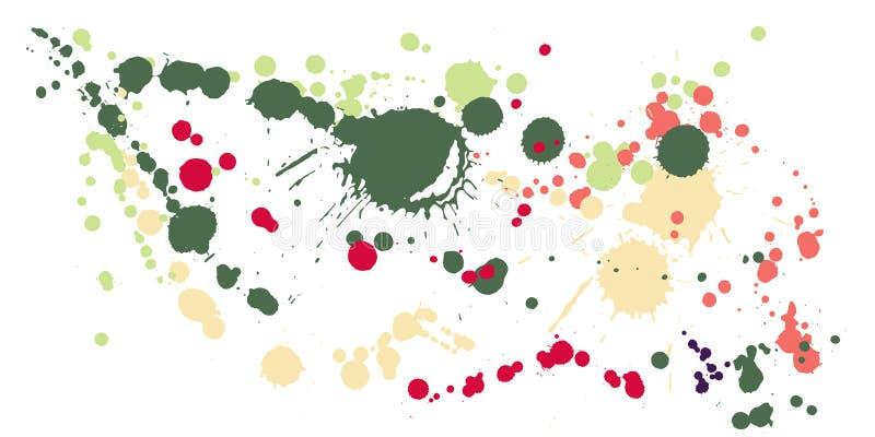 Atrament plami grunge tła wektor Żyłkowany atramentu splatter, kiść zaplamia, borowinowi punktów elementy, ścienni graffiti royalty ilustracja