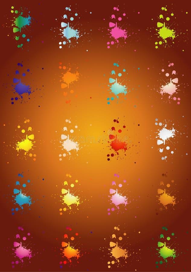 atrament splatters koloru ilustracja wektor