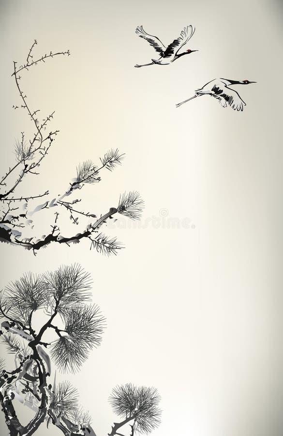 Atramentu żuraw i ilustracja wektor