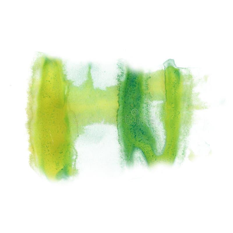 Atrament zieleni splatter watercolour barwidła ciekłej akwareli punktu blotch makro- tekstura odizolowywająca na białym tle zdjęcie stock