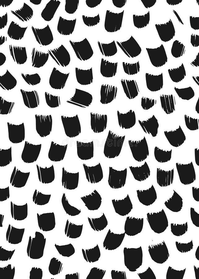 Atramentu abstrakcjonistyczny bezszwowy wzór Tło z artystycznymi uderzeniami w czarny i biały szkicowym stylu Projekta element dl ilustracji