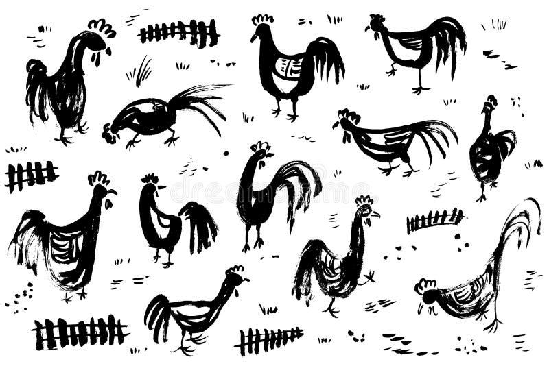 Atramentu artystyczny rysunek z kogutami Set z kogutami i płotowym atramentem royalty ilustracja