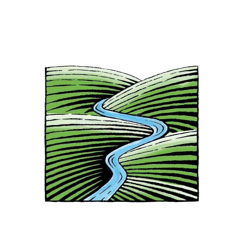 Atramentu i akwareli nakreślenie ilustracja wektor