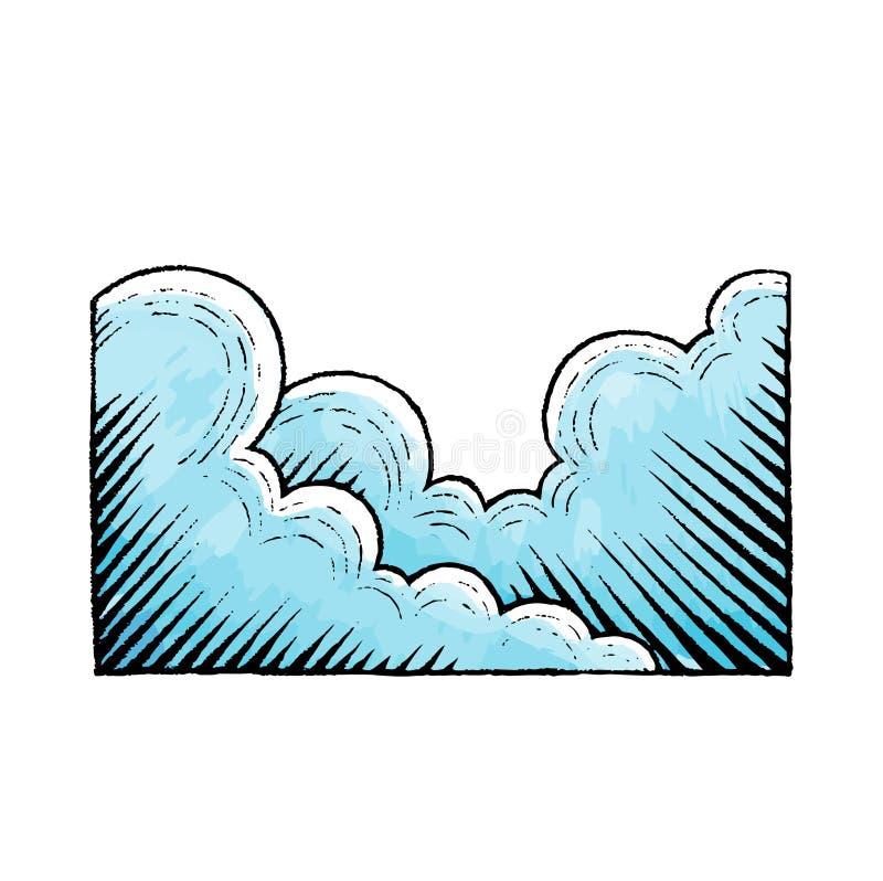 Atramentu i akwareli nakreślenie chmury ilustracji