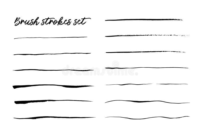 Atramentu muśnięcie muska set odizolowywającego na białym wektorze ilustracji