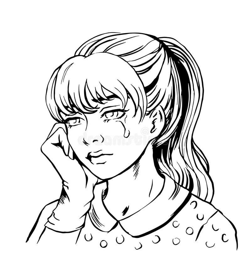 Atramentu nakreślenia płaczu dziewczyna ilustracja wektor