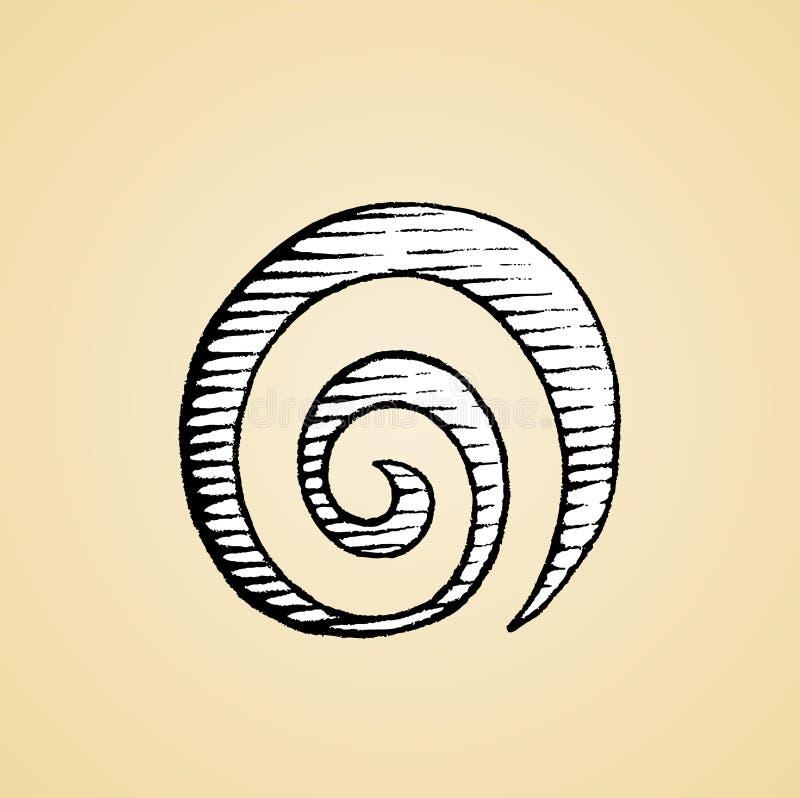 Atramentu nakreślenie Ślimakowatej galaktyki symbol z Białą pełnią ilustracji