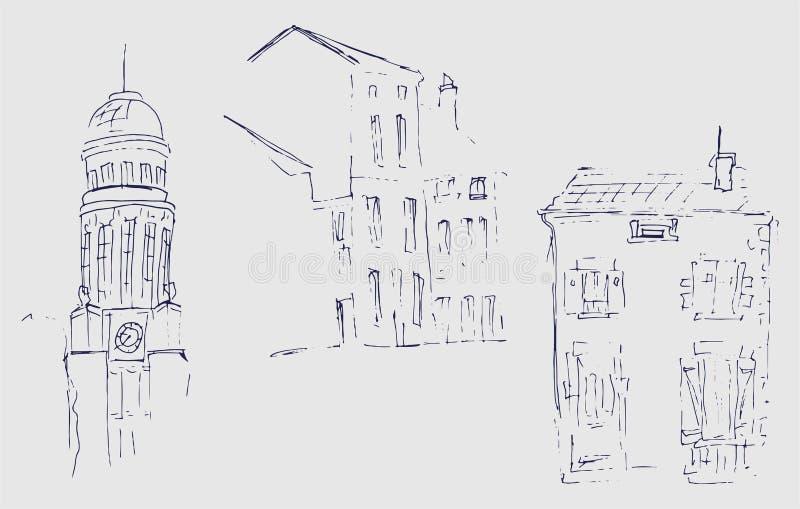 Atramentu nakreślenie budynki Wręcza patroszoną ilustrację domy w Europejskim Starym miasteczku Podróży grafika Set trzy różnego  royalty ilustracja