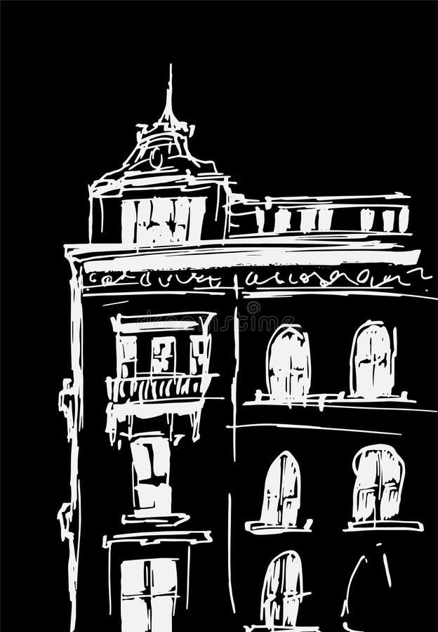 Atramentu nakreślenie budynki Wręcza patroszoną wektorową ilustrację domy w Europejskim Starym miasteczku Podróży grafika Biały k royalty ilustracja