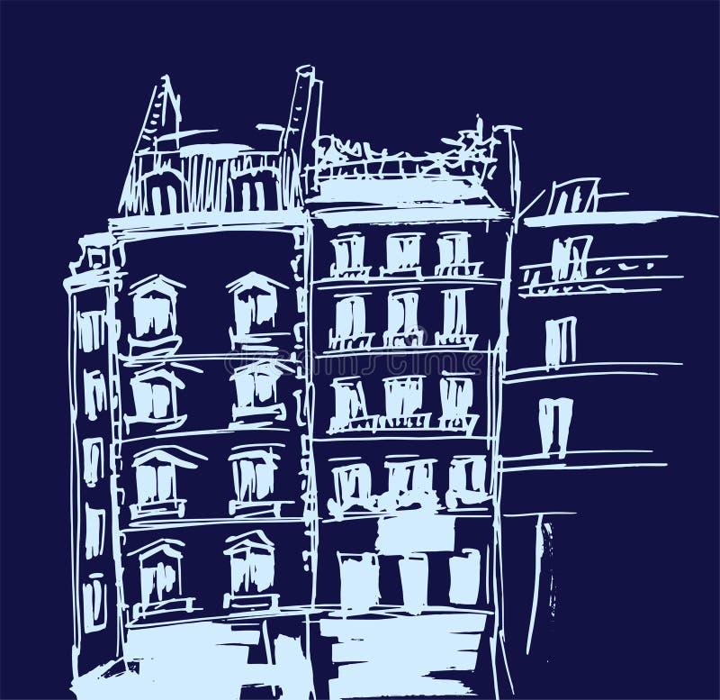 Atramentu nakreślenie budynki Wręcza patroszoną wektorową ilustrację domy w Europejskim Starym miasteczku Podróży grafika Kreskow ilustracja wektor