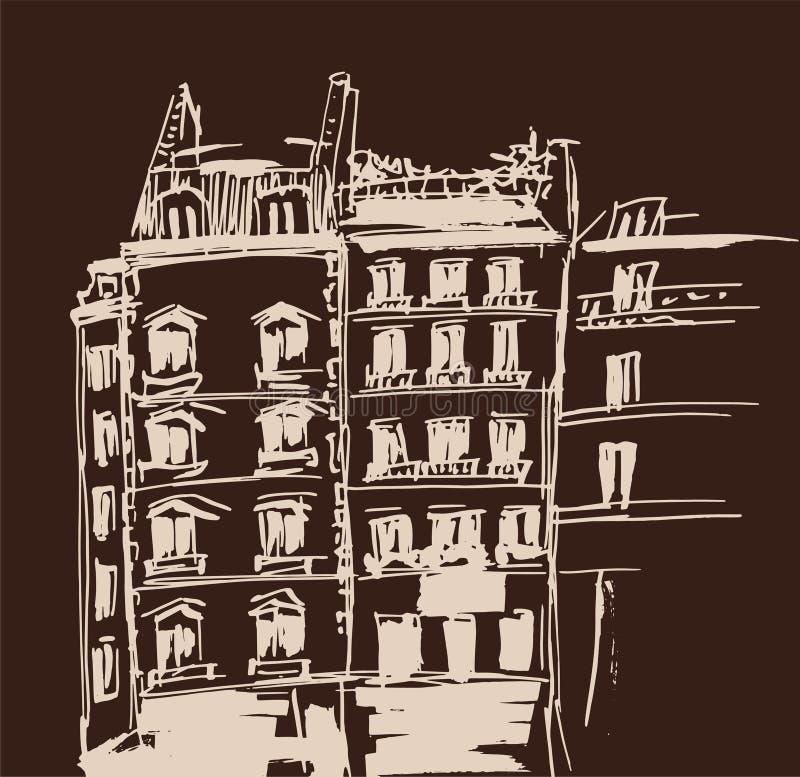 Atramentu nakreślenie budynki Wręcza patroszoną wektorową ilustrację domy w Europejskim Starym miasteczku Podróży grafika Beżowy  royalty ilustracja
