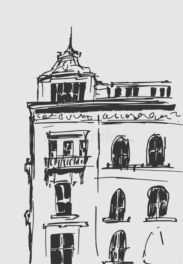 Atramentu nakreślenie budynki Wręcza patroszoną wektorową ilustrację domy w Europejskim Starym miasteczku Podróży grafika Kreskow ilustracji